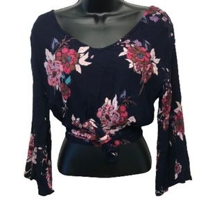 Patrons of Peace Floral Wrap Bell Sleeve Crop Top